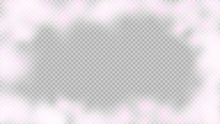 Pink smoke isolated on transparent background. Bright vector cloudiness, mist or smog background. Steam special effect. Realistic colorful fog or mist texture. Vector illustration of pink smoke