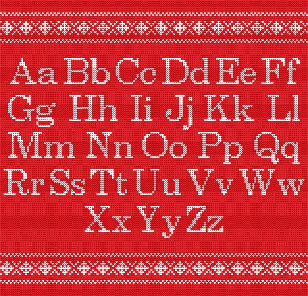 Knitted font on red background. Christmas knit alphabet on seamless pattern. Nordic Fair Isle knitting border. Sweater Christmas winter design. Handicraft letter for sweater, knitting norway textile