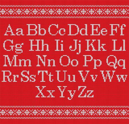 Fuente tejida sobre fondo rojo. Alfabeto de punto de Navidad de patrones sin fisuras. Borde de tejido nórdico Fair Isle. Suéter de diseño de invierno de Navidad. Carta de artesanía para suéter, tejido de noruega textil