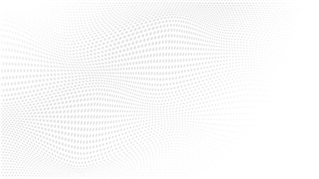 Abstrakter punktierter Hintergrund der Halbtonwelle. Moderner monochromer Hintergrund. Futuristisches Grunge-Muster, Punkt, Welle. Vektor moderne optische Halbtontextur für Websites, Poster, Visitenkarten, Cover