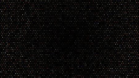 Gold and silver halftone black background. Vector golden glitter circle with dotted sparkles or halftone shine pattern texture black background. Golden circles, dots pattern, vector, grunge