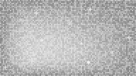 Abstract background silver mosaic. Background foil metallic texture. Festive vector illustration. Mirror mosaic vector illustration. Banner element. Party backdrop. Christmas banner. Disco decoration Vectores
