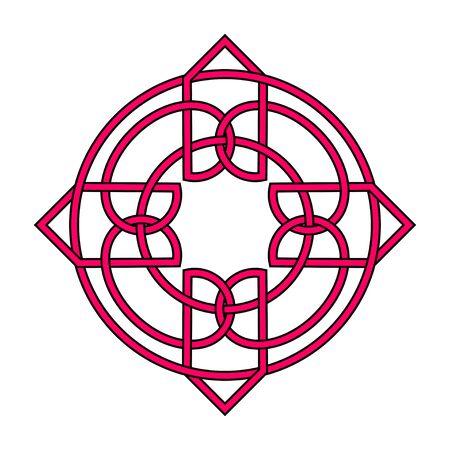 Irish celtic shamrock knot. Symbol of Ireland. Traditional medieval frame pattern illustration. Scandinavian or Celtic ornament. Isolated vector pictogram. Simple vector illustration