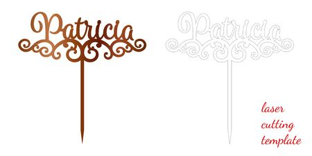 Sign 'Patricia' cake toppers for laser or milling cut. Cut for decoration design. Name topper. Holiday greeting. Elegant decoration. Laser cut. Isolated design element 向量圖像