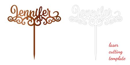Sign 'Jennifer' cake toppers for laser or milling cut. Cut for decoration design. Name topper. Holiday greeting. Elegant decoration. Laser cut. Isolated design element