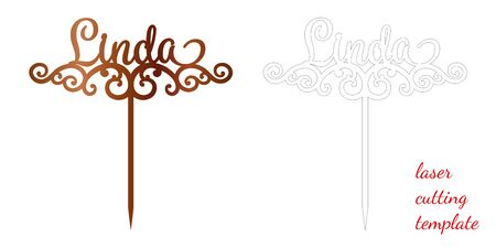 Sign 'Linda' cake toppers for laser or milling cut. Cut for decoration design. Name topper. Holiday greeting. Elegant decoration. Laser cut. Isolated design element