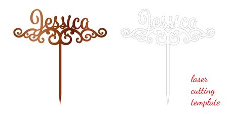Sign 'Jessica' cake toppers for laser or milling cut. Cut for decoration design. Name topper. Holiday greeting. Elegant decoration. Laser cut. Isolated design element 向量圖像