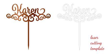 Sign 'Karen' cake toppers for laser or milling cut. Cut for decoration design. Name topper. Holiday greeting. Elegant decoration. Laser cut. Isolated design element