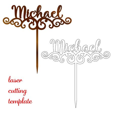 Sign 'Michael' cake toppers for laser or milling cut. Cut for decoration design. Name topper. Holiday greeting. Elegant decoration. Laser cut. Isolated design element 向量圖像