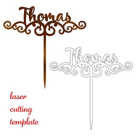 Sign 'Thomas' cake toppers for laser or milling cut. Cut for decoration design. Name topper. Holiday greeting. Elegant decoration. Laser cut. Isolated design element 向量圖像