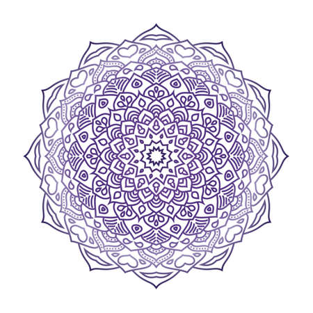 Floral mandala in ethnic style on white background. Round flower mandala on white isolated background. Abstract indian ornament. Decorative ornament in ethnic oriental style. Coloring book page Illusztráció