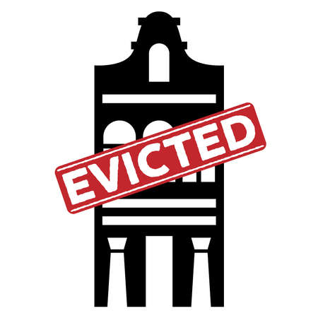 Evicted stamp with house icon, concept design. Icon for bankruptcy concept design. Evicted sign. Isolated vector illustration of foreclosure Illustration