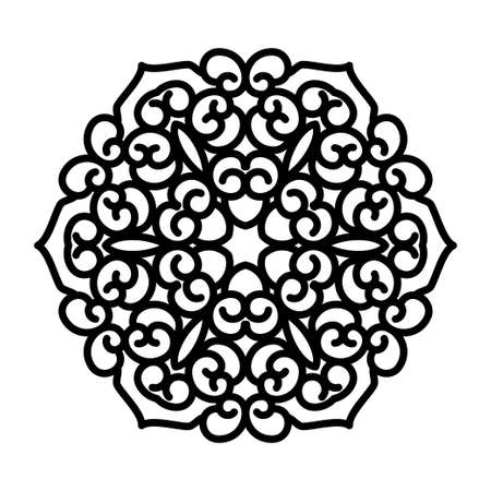 Simple black mandala with abstract elements, isolated on white background. Oriental ethnic ornament black mandala. Design pattern element. Simple floral pattern element. Abstract design 矢量图像