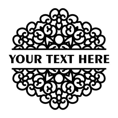 Simple black split monogram mandala with abstract elements, isolated on white background. Oriental ethnic ornament black mandala. Design pattern element. Simple floral pattern element