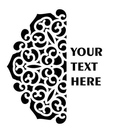 Simple black half monogram mandala with abstract elements, isolated on white background. Oriental ethnic ornament black mandala. Design pattern element. Simple floral pattern element 矢量图像