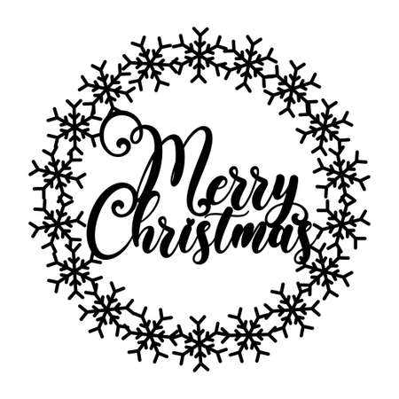 Christmas Snowflakes Wreath with sign Merry Christmas, CNC laser cutting template. Template laser cutting machine for wood and metal. You can use it for home decor, wall decor