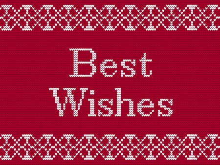 Merry Christmas. Fairisle Design Knitting Pattern. Scandinavian style greeting card. Christmas greeting card banner poster. Knitted imitation. Winter Holiday Sweater Design. Vector Illustration