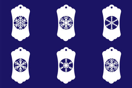 Christmas Gift Tags with Snowflakes. Paper Cut Tags Template