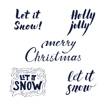 let it snow: Merry Christmas calligraphic set on white background.