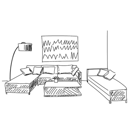 modern living room interior: Modern living room interior with sofas, lamp and picture on wall sketch Illustration
