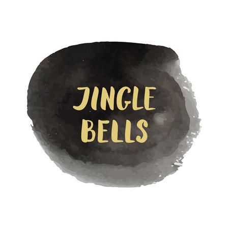 jingle bells: Watercolor splash and lettering phrase Jingle Bells Illustration
