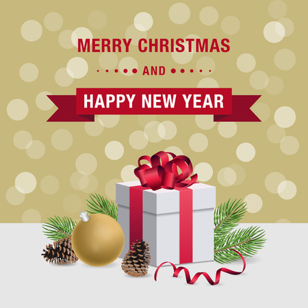 booked: Merry Christmas and Happy New Year card design with gift box and decorations on golden bokeh background