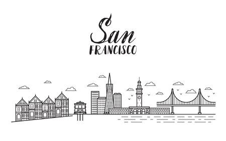 golden gate bridge: San Francisco illustration with modern lettering, city buildings, golden gate bridge and cable car.
