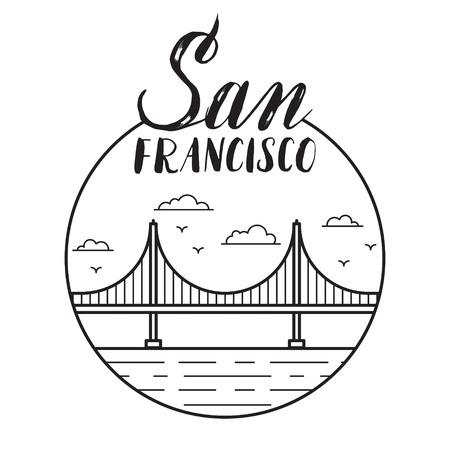 golden gate bridge: San Francisco illustration with modern lettering and Golden Gate bridge.