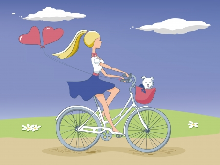 Girl on bike with a dog Vector