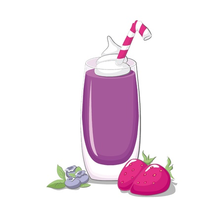 Strawberry & blueberry smoothie Vector