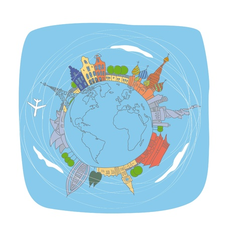 people travelling: World travel Illustration