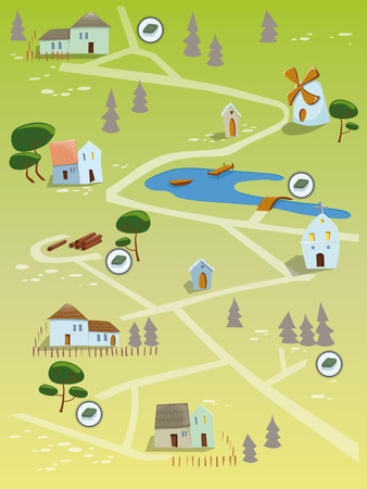 Geocaching treasure map  EPS 10  Transparency  Gradients  Vector