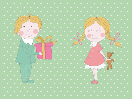 two children: Greeting card with two very cute children  EPS 10  No transparency  No gradients