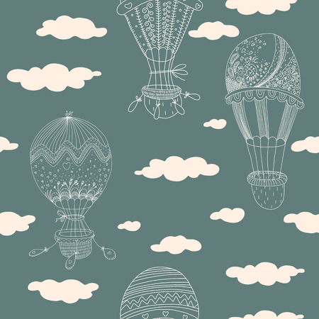 Seamless pattern with sweet hand drawn balloons  EPS 10  No transparency  No gradients  Vector