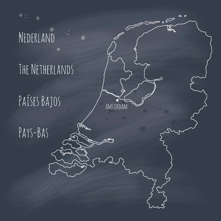 eps 10: Hand drawn map of the Netherlands on blackboard  EPS 10  Transparency  No gradients   Illustration
