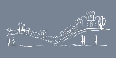 Hand drawn illustration of castle  EPS 10  No transparency  No gradients  Vector