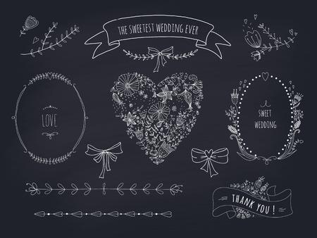 칠판 투명성에 화환, 리본, 심장 및 레이블의 손으로 그린 설정을하지 그라디언트 일러스트