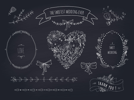 Hand drawn set of wreaths, ribbons, heart and labels on blackboard  Transparency  No gradients  Vector