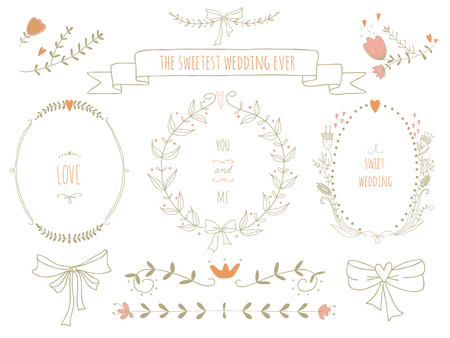 Hand drawn set of wreaths, ribbons, laurel and labels on blackboard  No transparency  No gradients  Vector
