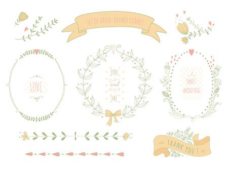 Dibujado a mano conjunto de coronas de flores, cintas, laurel y las etiquetas en la pizarra Sin transparencia no degradados Foto de archivo - 27252196