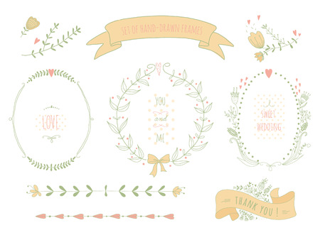 Hand drawn set of wreaths, ribbons, laurel and labels on blackboard  No transparency  No gradients