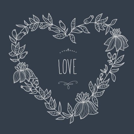 Hand drawn illustration of heart-shaped wreath on blackboard  EPS 10  No transparency  No gradients  Vector