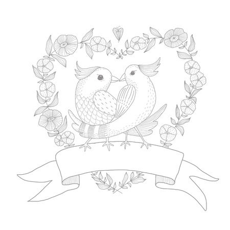 Hand drawn illustration of two birds with a wreath. EPS 10. No transparency. No gradients. Vector