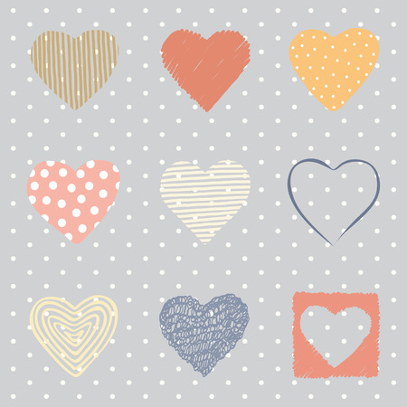 Colorful set of hand drawn hearts. EPS 10. No transparency. No gradients. Vector
