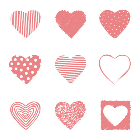 Set of hand drawn hearts. EPS 10. No transparency. No gradients. Vector