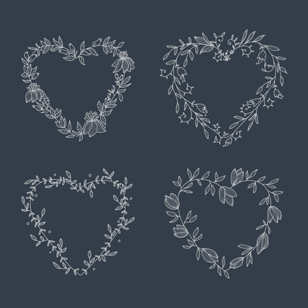 Hand drawn set of heart-shaped wreath on blackboard. EPS 10. No transparency. No gradients. Vector