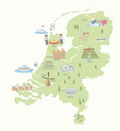 Kaart van Nederland bezienswaardigheden. EPS-10. Geen transparantie. Geen hellingen.