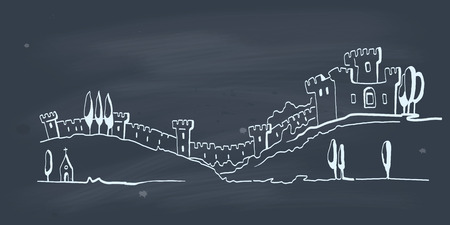 Hand drawn illustration of an old castle on blackboard  EPS 10  No gradient  Transparency  Vector