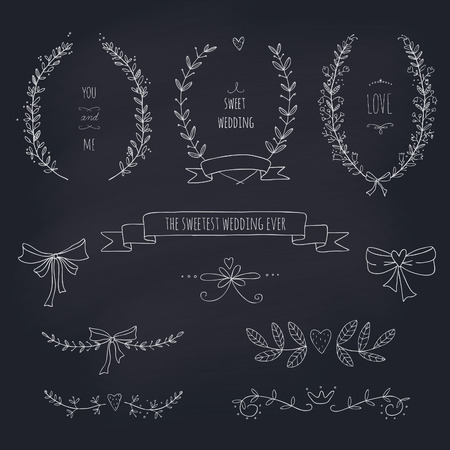 Hand drawn set of wreaths, ribbons, laurel and labels on blackboard  Transparency  No gradients