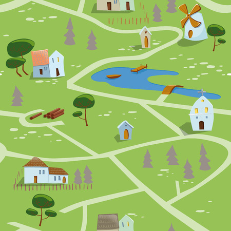 Seamless pattern of a small village in summer  EPS 10  Transparency  Gradients  Vector